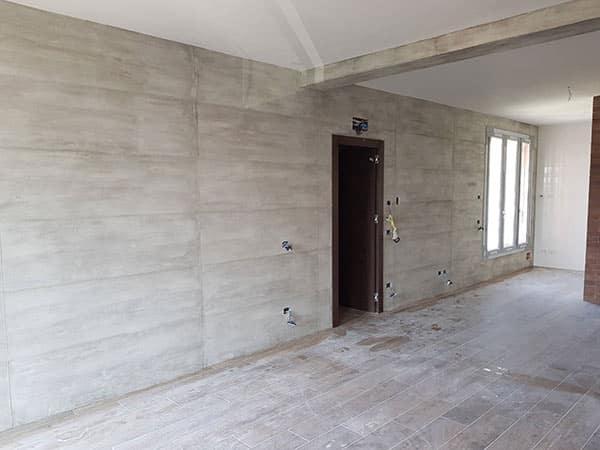 Pittura Effetto Cemento Grezzo : Cartongesso effetto cemento: cucina moderna rosa antico alle pareti